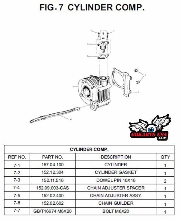 Trailmaster GY6 150 Engine Cylinder