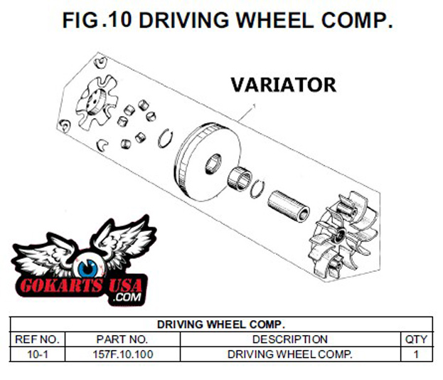 variator drive pulley  for trailmaster 150 xrs go kart